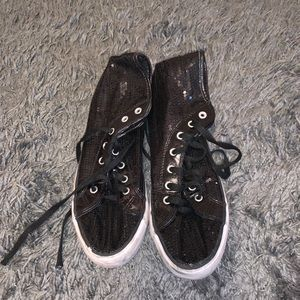 Black sparkly high-top sneakers